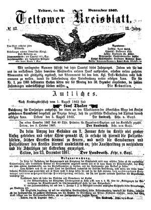 Teltower Kreisblatt on Dec 25, 1867