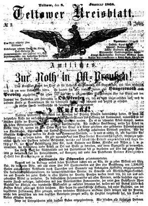 Teltower Kreisblatt vom 08.01.1868
