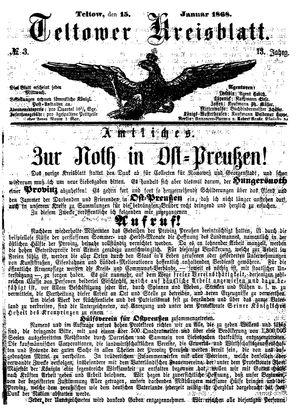 Teltower Kreisblatt vom 15.01.1868