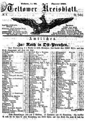 Teltower Kreisblatt vom 29.01.1868