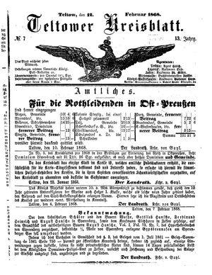 Teltower Kreisblatt vom 12.02.1868