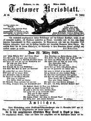 Teltower Kreisblatt (18.03.1868)