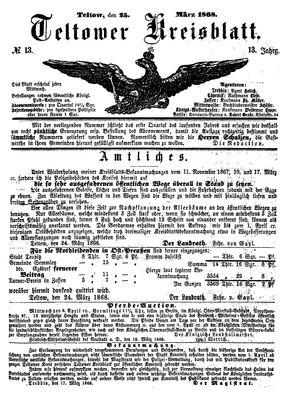 Teltower Kreisblatt vom 25.03.1868