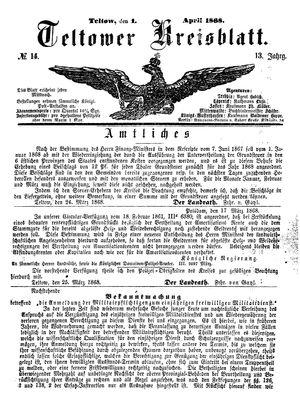 Teltower Kreisblatt vom 01.04.1868