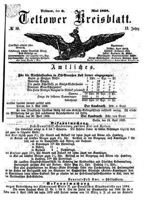 Teltower Kreisblatt vom 06.05.1868