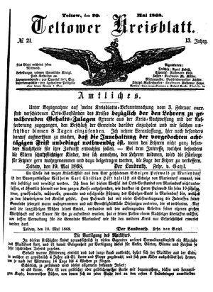 Teltower Kreisblatt vom 20.05.1868