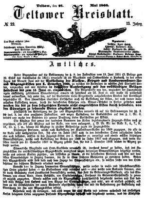 Teltower Kreisblatt vom 27.05.1868