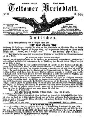 Teltower Kreisblatt vom 17.06.1868