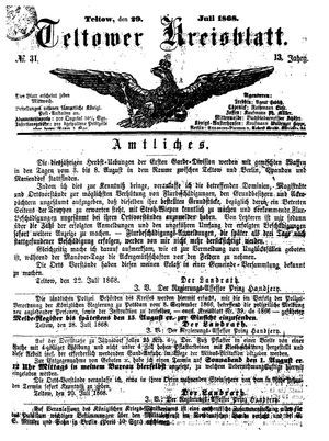 Teltower Kreisblatt on Jul 29, 1868