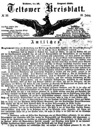 Teltower Kreisblatt vom 12.08.1868