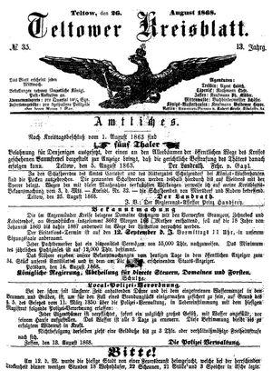 Teltower Kreisblatt vom 26.08.1868