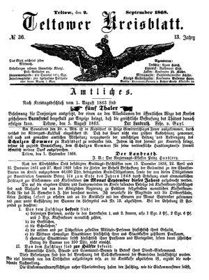 Teltower Kreisblatt vom 02.09.1868