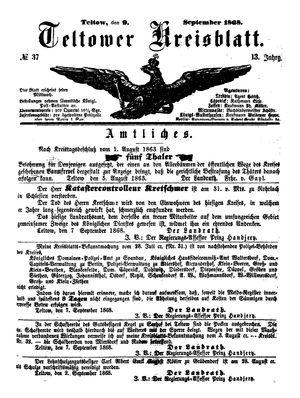 Teltower Kreisblatt vom 09.09.1868