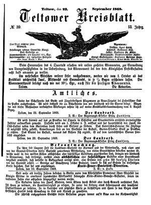 Teltower Kreisblatt vom 23.09.1868
