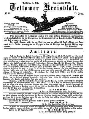 Teltower Kreisblatt vom 30.09.1868