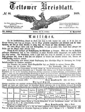 Teltower Kreisblatt vom 14.10.1868