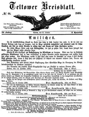 Teltower Kreisblatt vom 21.10.1868
