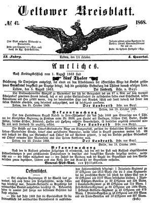 Teltower Kreisblatt vom 24.10.1868