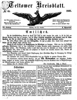 Teltower Kreisblatt vom 28.10.1868