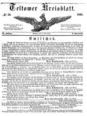 Teltower Kreisblatt vom 04.11.1868