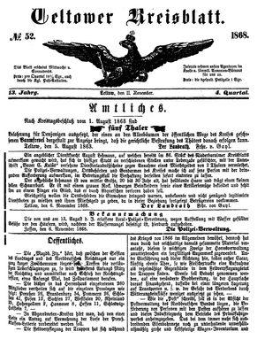 Teltower Kreisblatt on Nov 11, 1868