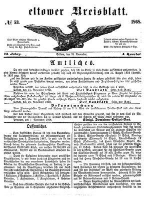 Teltower Kreisblatt vom 14.11.1868
