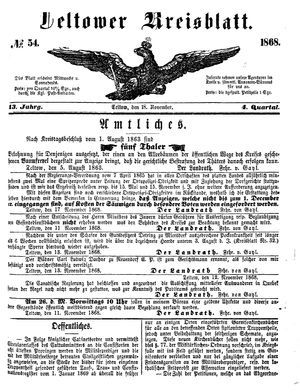 Teltower Kreisblatt vom 18.11.1868