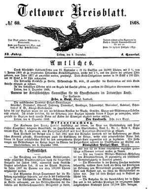 Teltower Kreisblatt vom 09.12.1868