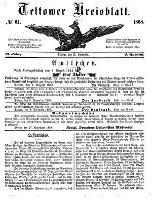 Teltower Kreisblatt vom 12.12.1868