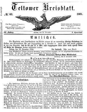 Teltower Kreisblatt vom 19.12.1868