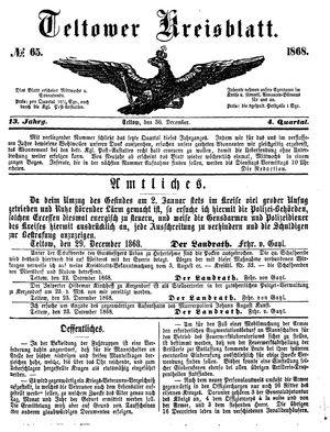 Teltower Kreisblatt vom 30.12.1868