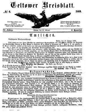 Teltower Kreisblatt on Feb 10, 1869