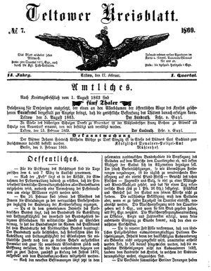 Teltower Kreisblatt vom 17.02.1869