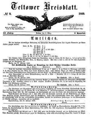 Teltower Kreisblatt vom 03.03.1869