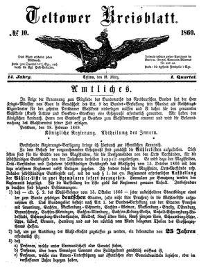 Teltower Kreisblatt vom 10.03.1869