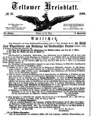 Teltower Kreisblatt vom 24.03.1869