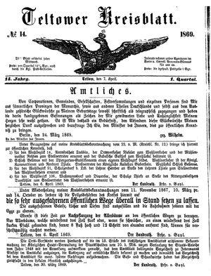 Teltower Kreisblatt vom 07.04.1869