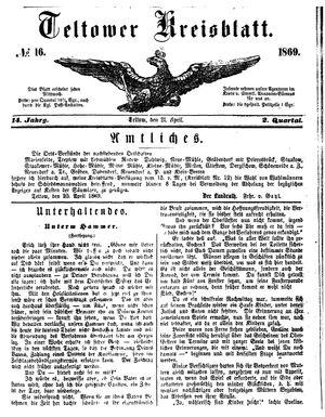 Teltower Kreisblatt on Apr 21, 1869