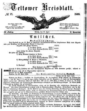 Teltower Kreisblatt vom 28.04.1869