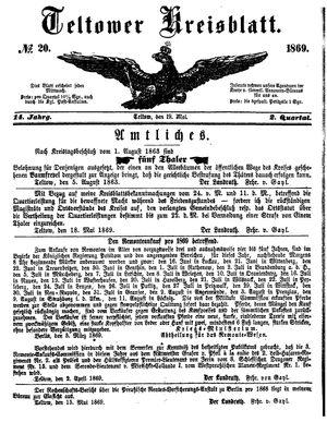 Teltower Kreisblatt on May 19, 1869