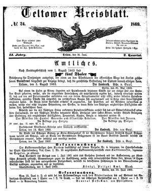 Teltower Kreisblatt vom 16.06.1869