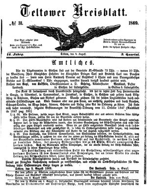 Teltower Kreisblatt vom 04.08.1869