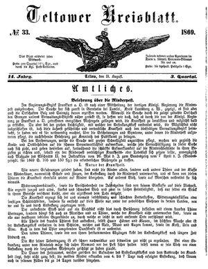 Teltower Kreisblatt vom 18.08.1869