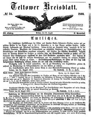 Teltower Kreisblatt vom 25.08.1869