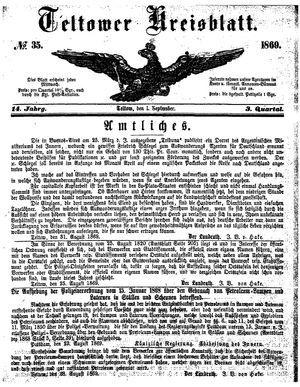 Teltower Kreisblatt vom 01.09.1869