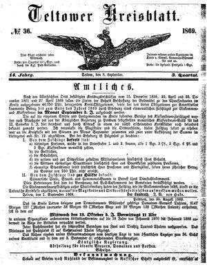 Teltower Kreisblatt vom 08.09.1869
