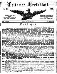 Teltower Kreisblatt (22.09.1869)
