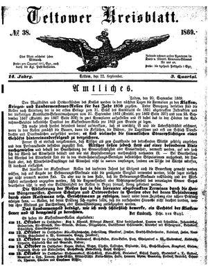 Teltower Kreisblatt vom 22.09.1869