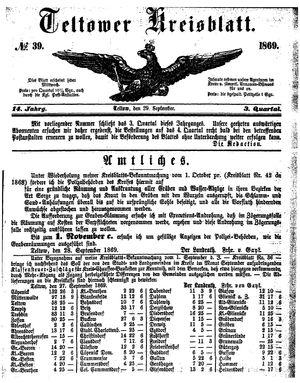 Teltower Kreisblatt vom 29.09.1869