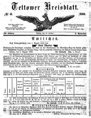 Teltower Kreisblatt vom 13.10.1869